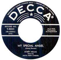 "Single of ""My Special Angel"" by Bobby Helms"