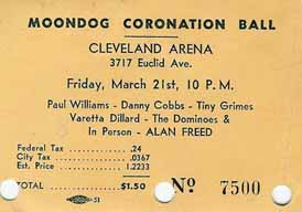 Ticket to the Moondog Coronation Ball March 21, 1952