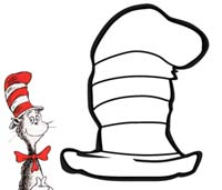 The Cat in the Hat by Dr. Seuss, a coloring page