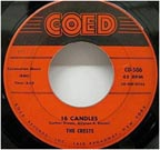 "The great doo wop song ""Sixteen Candles"" by The Crests"