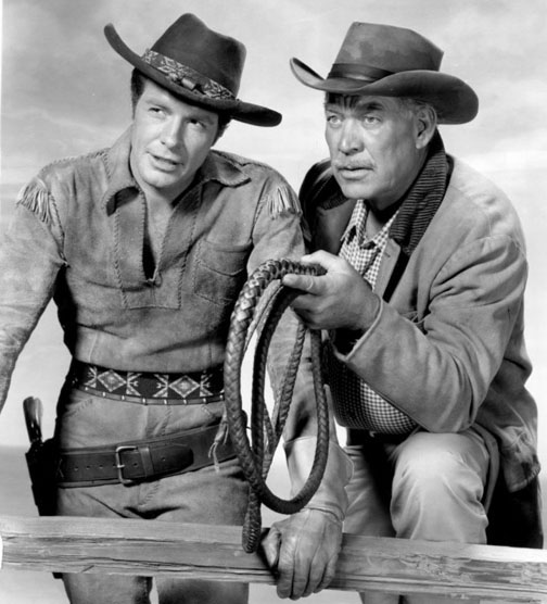 Robert Horton and Ward Bond in Wagon Train