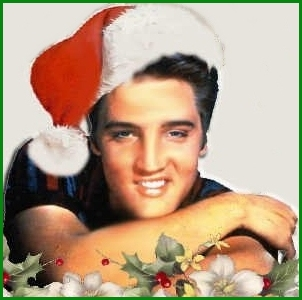 Elvis Presley in Santa hat for Blue Christmas
